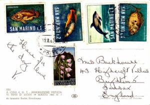 San Marino 1L, 2L, 3L, and 4L Fish and 10L Bell Flowers and Mt. Titano 1967 R...