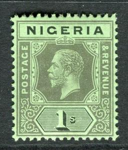 NIGERIA; 1912 early GV Crown CA issue fine Mint hinged Shade of 1s. value