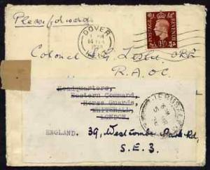 Palestine 1938 re-used cover to UK (redirected) from FPO ...