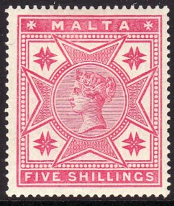 1886 Malta QV Queen Victoria 5/ issue Wmk 1 MLMH Sc# 14 $125.00