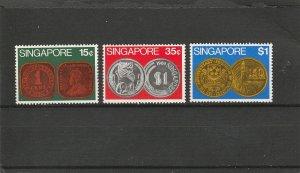 Singapore  Scott#  150-152  MH  (1972 Singapore Coins)