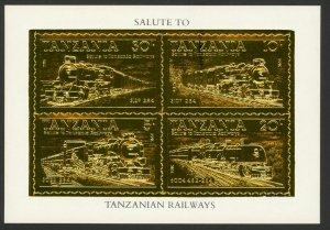 TANZANIA 1985 RAILWAYS Souvenir Sheet GOLD PROOF Sc 274a Var MNH