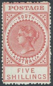 SOUTH AUSTRALIA 1906 QV THICK POSTAGE 5/- WMK CROWN/A PERF 12.5