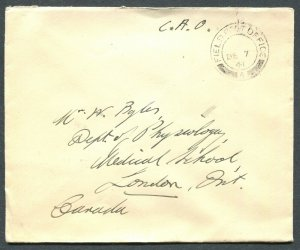 CANADA WWII MILITARY COVER FIELD POST OFFICE CANCEL DATED - PEARL HABOR