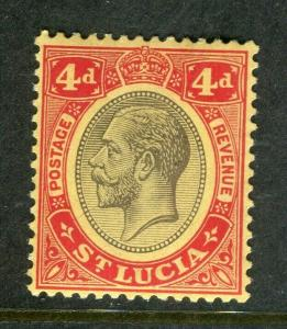 ST.LUCIA; 1912 early GV issue fine Mint hinged Shade of 4d. value