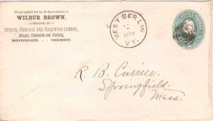 United States Vermont West Berlin 1897 target  1884-1918  Postal Stationary E...