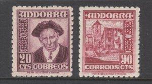 Andorra, Spanish Sc 40, 45 MNH. 1948 definitives, 2 different, VF