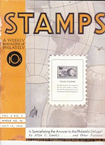 Stamps Weekly Magazine of Philately July 14, 1934 Stamp Collecting Magazine