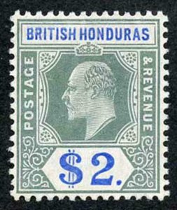 BRITISH HONDURAS SG92 1904-07 2 Dollars grey-green and blue