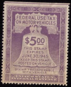 Scott #RV30 $5.00 Motor Vehicle Use Revenue StampViolet1944 Used