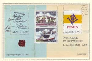 Aland Sc 72 1993 postal Autonomy stamp sheet mint NH