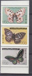J28850, 1994 syria set strip/3 mnh #1318 butterflies