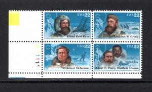 US #2223a,  Plate # Block, VF, MNH, Arctic Explorers, CV $4.50 ...... 6785904