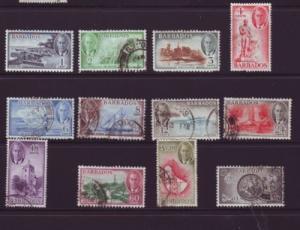 Barbados Sc 216-27 1950 G VI long stamp set used