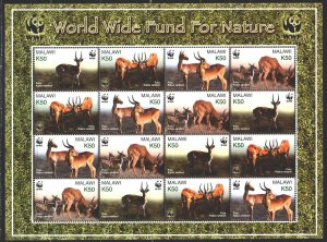 Malawi. 2003. Small sheet 721-24. Antelopes, WWF. MNH.