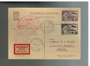 1931 RUSSIA USSR Graf Zeppelin Malyguin Postcard Cover Polar Flight  # C26 C28