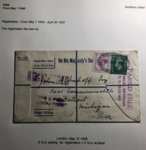 1949 London England Registered On His Majesty's Service Cover To Detroit MI USA