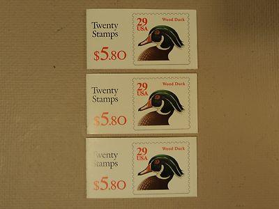 USPS Scott 2485a 29c Wood Duck Lot Of 3 Books 60 Stamps 1...