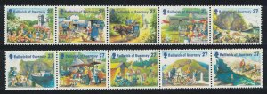 Guernsey Holidays on Sark 10 stamps in strips Folded SG#955-964