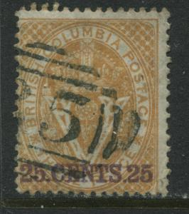 British Columbia 1869 overprinted  25 CENTS used