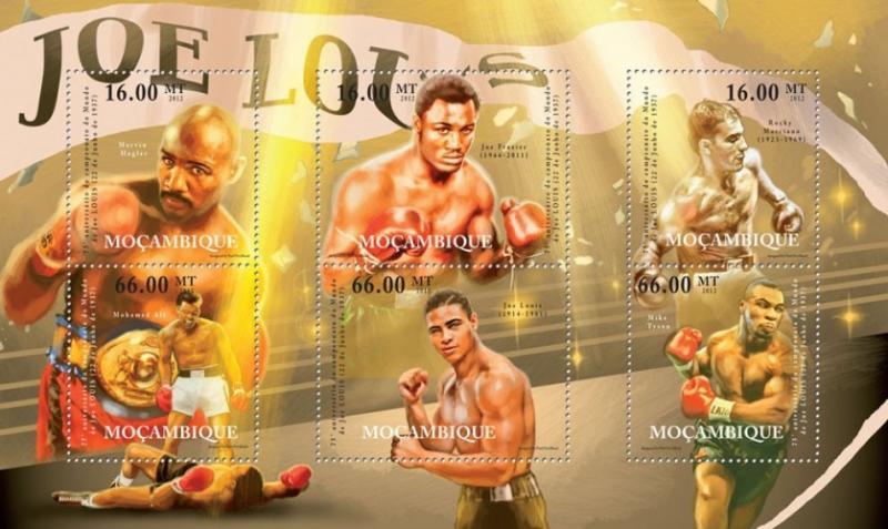 Mozambique MNH S/S Joe Louis Boxer  Legend 2012 6 Stamps