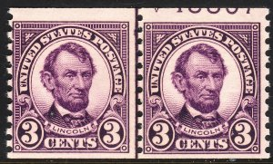 1924 U.S Abraham Lincoln 3¢ joint line partial plate MLH Sc# 600 CV $30.00