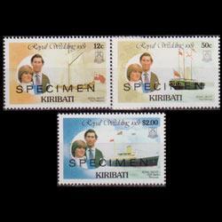 KIRIBATI 1981 - Scott# 373-8 R.Wed.Specimen Set of 3 LH