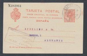 Spain H&G 49 used. 1910 10c Postal Card, Castellon - Hamburg, Germany, clean