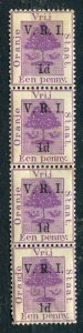 ORANGE FREE STATE; 1900 early QV V.R.I. Optd surcharged issue Mint 1d. STRIP