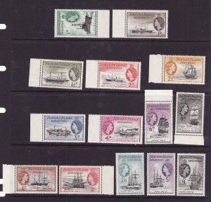Falkland Island Dependencies-Sc#1L19-1L33 ex 1L32[10sh]-unused NH set-Ships-QEII