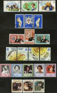 FALKLAND IS. Sc#254-56//454-456 1977-86 Six Complete Used Sets