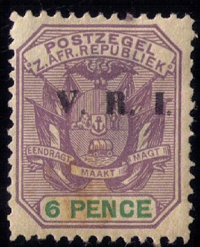 Transvaal  SG 232 Used  6P Coat of Arms With V.R.I. Overprint Very Fine