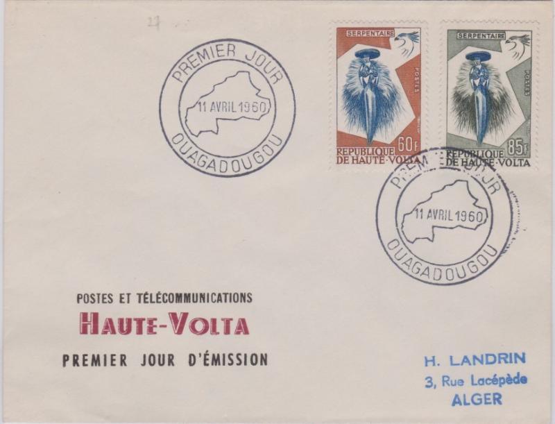 Upper Volta 60F and 85f Secretary Bird Mask and Secretary Bird 1960 Premier J...