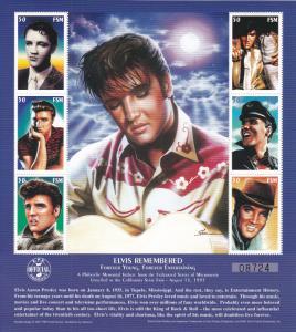 Micronesia # 268, Elvis Presley, Sheet of Six, NH, 1/3 Cat.
