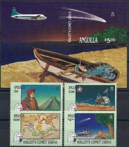 1986 Anguilla Halley´s Comet, Ships, Planes, compl.set+Sheet VF/MNH, CAT 19$