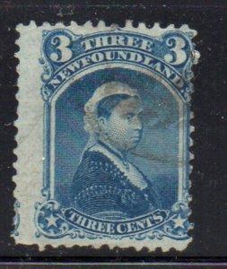 Newfoundland Sc 34 1873 3 c blue Victoria stamp used