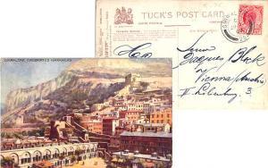 Gibraltar 1d KEVII 1908 Gibraltar, 25 PPC (Casemates Barracks) to Vienna, Aus...