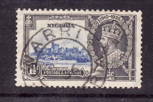 Nigeria-Sc#34-used KGV-1&1/2d Silver Jubilee-Royalty-1935-Castles-