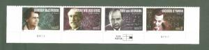 3906-9 American Scientists Strip Of 4 W/Plate Number Mint/nh (Free Shipping)