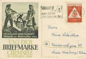 Germany Soviet Zone 12pf+3pf Stamp Day Semi-Postal 1948 (10b) Chemnitz, Fussg...