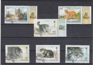 Tajikistan Cancelled Cats Stamps Ref 26195