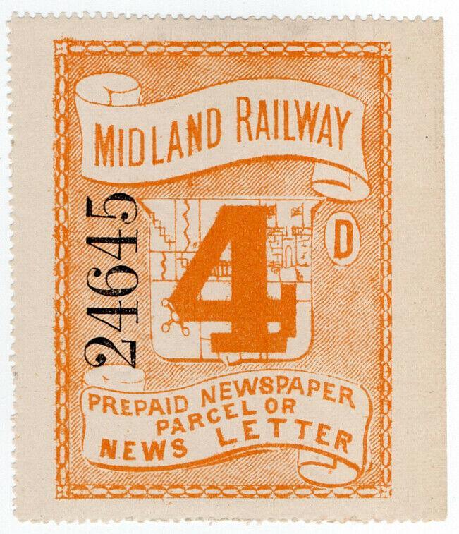 (I.B) Midland Railway : Prepaid Newspaper or News Letter 4d (large format)