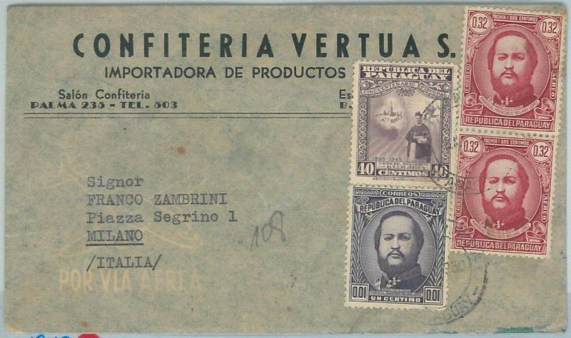 67228 -  PARAGUAY - Postal History -  ADVERTISING COVER to  ITALY 1950
