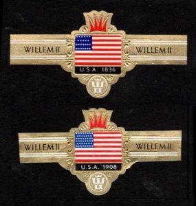 WILLHEM Il CIGARS, 2 DIFF OLD CIGAR BANDS UNUSED USA FLAG, TOBACCO CINDERELLA