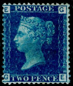 SG47, 2d dp blue PLATE 13, M MINT. Cat £375. GE