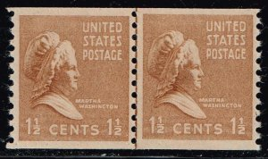 US STAMP #840 – 1939 1 1/2c Martha Washington, brown MNH/OG LP