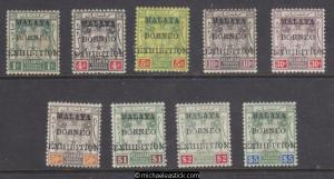 1922 Malaya Kelantan 1c - $5 Malaya Borneo Exh, set of 9, SG 30-38 MH. Toning