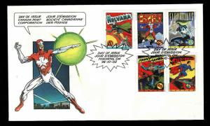 Canada-Sc#1579-stamps on FDC-Comic Book Superheroes-Superman-Johnny Canuck-1995-