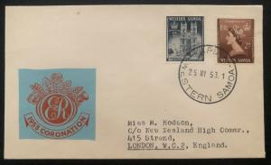 1953 Apia Western Samoa First Day Cover QE2 Queen Elizabeth coronation To UK
