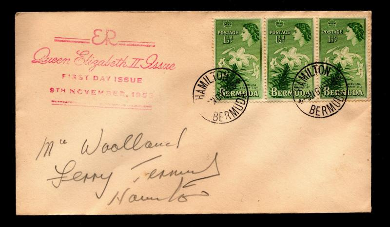 Bermuda First Day Cover With Scott #145 Lilies - 11/9/53 to Hamilton, Bermuda